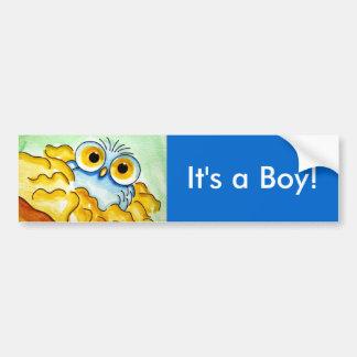BABY BLUE OWL 1, It's a Boy! BUMPER STICKER Car Bumper Sticker