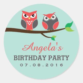 Baby Blue Owl Cartoon Sticker for Kids Birthday