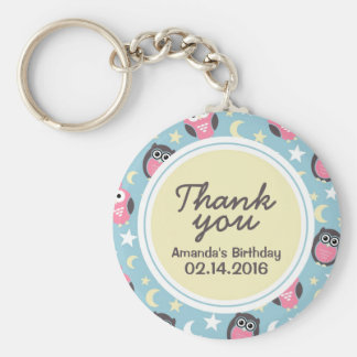 Baby Blue Owl Cartoon Thank You Gift Keychain