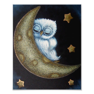 "BABY BLUE OWL SLEEPING IN THE MOON 8"" X 10"" POSTER PHOTO PRINT"