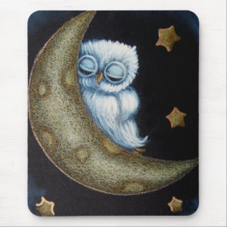 BABY BLUE OWL SLEEPING IN THE MOON MOUSE PAD