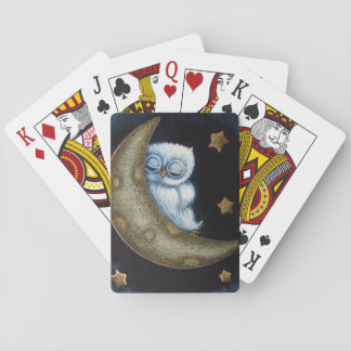 BABY BLUE OWL SLEEPING IN THE MOON PLAYING CARDS