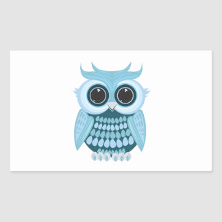 Baby Blue Owl Rectangle Sticker