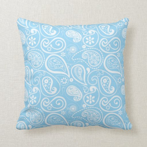 Baby Blue Decorative Pillow : Baby Blue Paisley; Floral Throw Pillow Zazzle