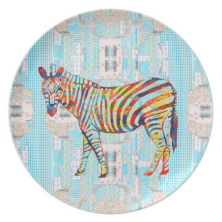 Baby Blue Pattern and Colorful Zebra Pop Art Plate