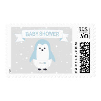 Baby Blue Penguin Baby Shower Postage Stamp
