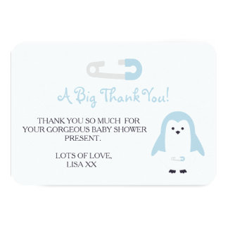 Baby Blue Penguin Thank You Card