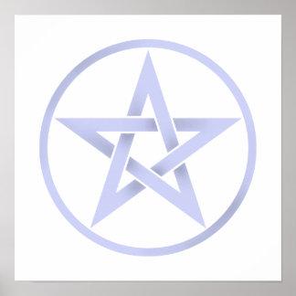 Baby Blue Pentagram Pentacle Poster