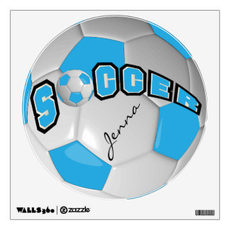 Baby Blue Personalize Soccer Ball Room Stickers