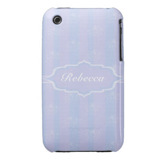 Baby Blue personalized delicate Lotus pattern Case-Mate iPhone 3 Cases