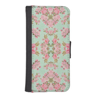 Baby Blue Pink Flower Abstract iPhone SE/5/5s Wallet