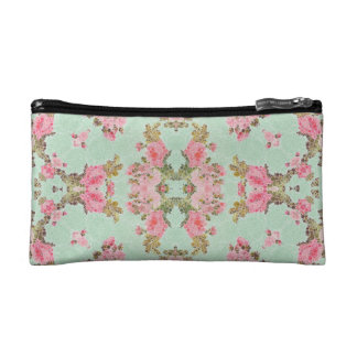 Baby Blue Pink Flower Abstract Makeup Bag