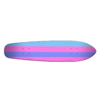 Baby blue pink purple stripes skate board