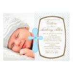 Baby Blue Polka Dot Boys Photo Baptism Invitation