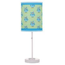 Baby Blue Polka Dot Owl Theme Desk Lamp
