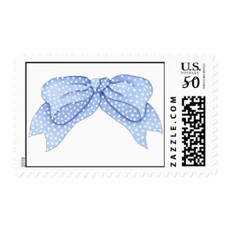 Baby Blue Polka Dot Watercolor Bow Postage