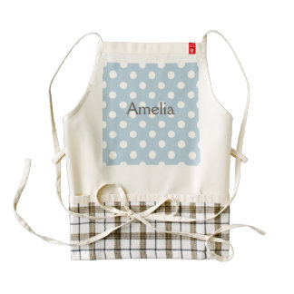 Baby blue, polka dot, white, customizable,cute,fun zazzle HEART apron