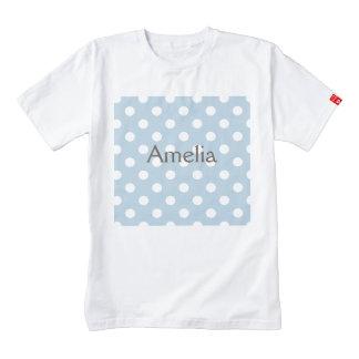 Baby blue, polka dot, white, customizable,cute,fun zazzle HEART T-Shirt