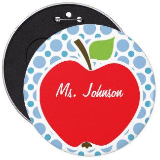Baby Blue Polka Dots; Apple 6 Inch Round Button