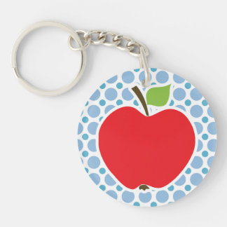 Baby Blue Polka Dots; Apple Double-Sided Round Acrylic Keychain