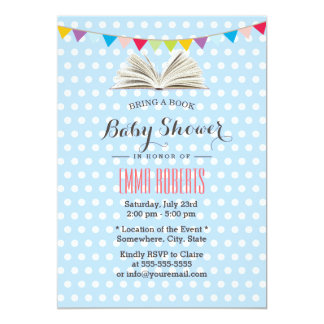 Baby Blue Polka Dots Bring a Book Baby Shower 5x7 Paper Invitation Card