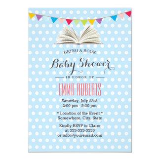 Baby Blue Polka Dots Bring a Book Baby Shower Card