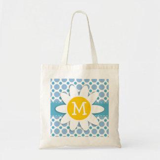 Baby Blue Polka Dots; Daisy Tote Bag