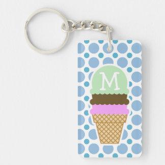 Baby Blue Polka Dots; Ice Cream Cone Keychain