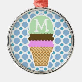 Baby Blue Polka Dots; Ice Cream Cone Christmas Ornament
