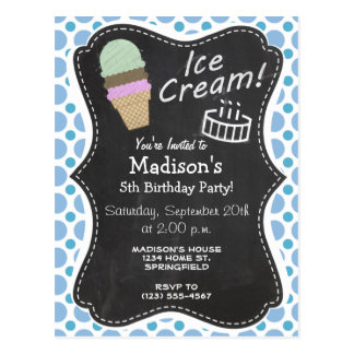 Baby Blue Polka Dots; Ice Cream Cone Postcard