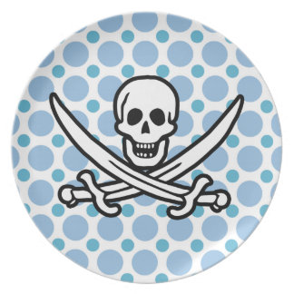 Baby Blue Polka Dots Jolly Roger; Pirate Plate