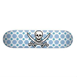 Baby Blue Polka Dots Jolly Roger Pirate Skateboards