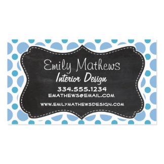 Baby Blue Polka Dots; Vintage Chalkboard Business Card Templates