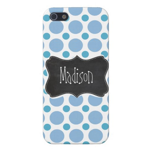 Baby Blue Polka Dots; Vintage Chalkboard Cases For iPhone 5