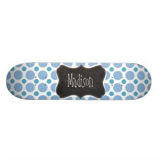 Baby Blue Polka Dots; Vintage Chalkboard Skate Board Deck