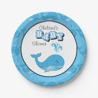 Baby Blue Polka Dotted Whale | Personalize Paper Plate