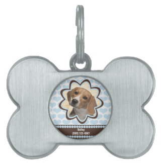 Baby Blue Puppy Hearts Custom Photo with Name Pet Tags