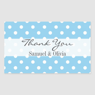 Baby Blue Rectangle Custom Polka Dotted Thank You Rectangular Sticker