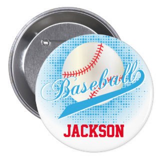 Baby Blue Retro Baseball Style Pinback Button