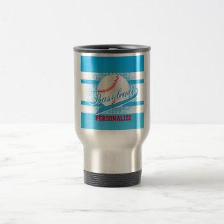 Baby Blue Retro Baseball Style Travel Mug