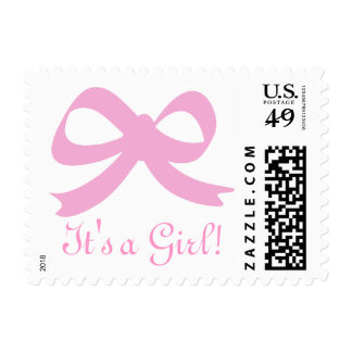 Baby blue ribbon bow postage stamps | It's a boy!
