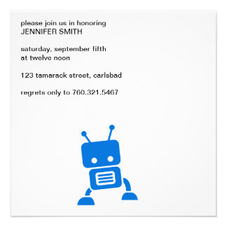 Baby Blue Robot Personalized Invite