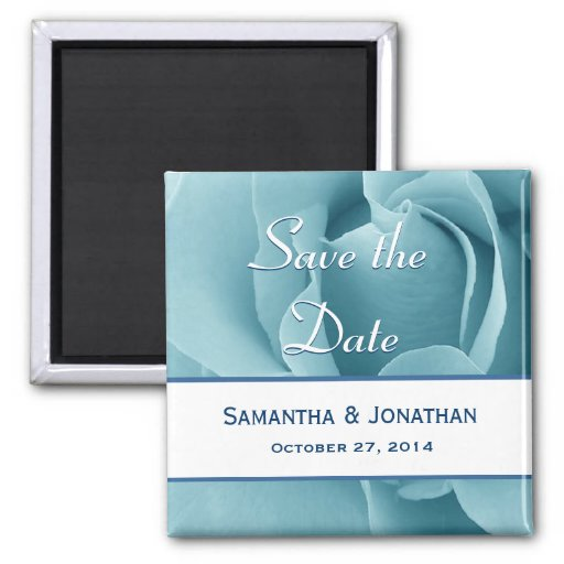 Baby Blue Rose and White Save the Date Wedding Magnets
