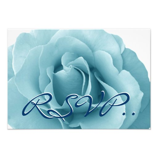 Baby Blue Rose and White Wedding Template Personalized Invitations