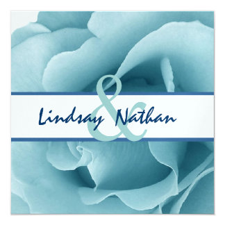 Baby Blue Rose and White Wedding Template 5.25x5.25 Square Paper Invitation Card