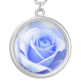 Baby Blue Rose Necklace