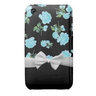 Baby Blue Roses and white bow on black iPhone 3 Cover