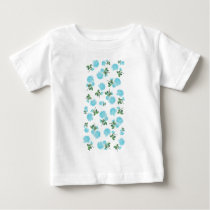 Baby Blue Roses floral pattern on White Baby T-Shirt