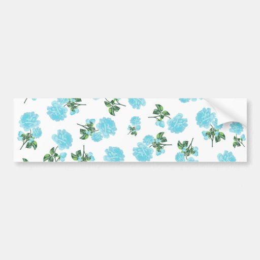 Baby Blue Roses floral pattern on White Car Bumper Sticker