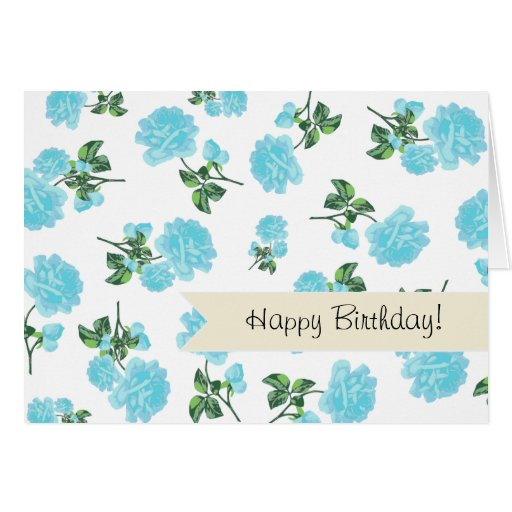 Baby Blue Roses floral pattern on White Cards